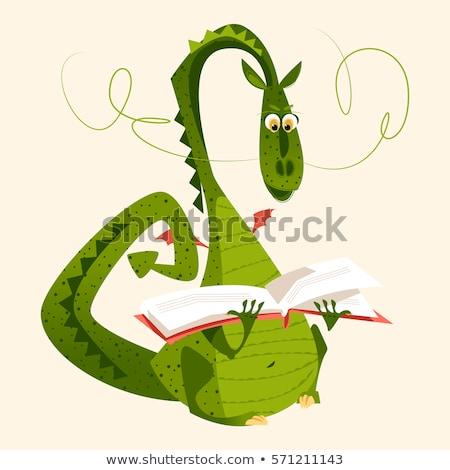 Karikatür ejderha siluet oturma mutlu Stok fotoğraf © cthoman