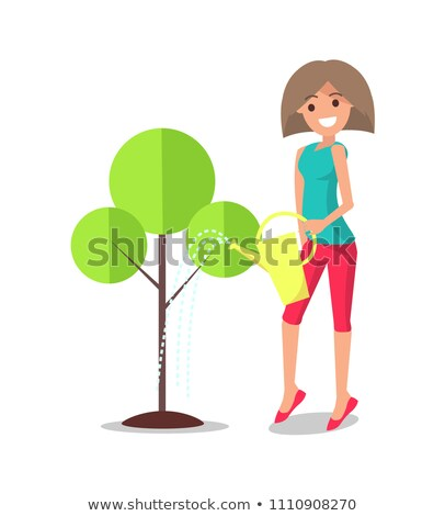 Adult Woman Watering Tree from Metal Can Vector Stock photo © robuart