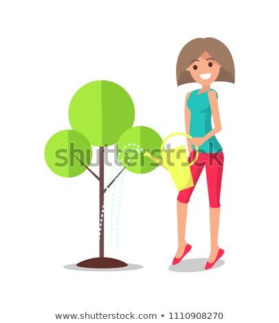 женщину · дерево · дружественный · улыбаясь · женщины - Сток-фото © robuart