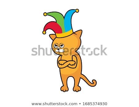 Cartoon Angry Jester Kitten Stock photo © cthoman