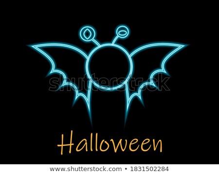 mutlu · halloween · hayalet · bat · ikon · kedi - stok fotoğraf © anna_leni