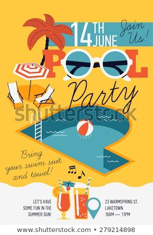 Nyár medence poszter ikonok védőszemüveg törölköző Stock fotó © robuart