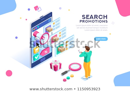 Isometric vector concept of e-mail marketing, product promoting Stock photo © TarikVision