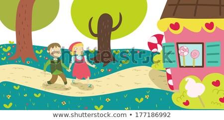 Kid Mädchen Märchen Geschichte schriftlich Illustration Stock foto © lenm