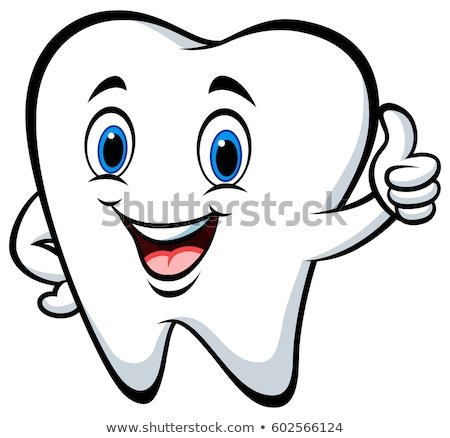 Foto stock: Cartoon · diente · cute · cepillo · de · dientes · feliz
