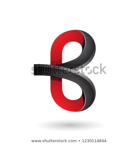 red and black bold curvy letter b vector illustration stock photo © cidepix