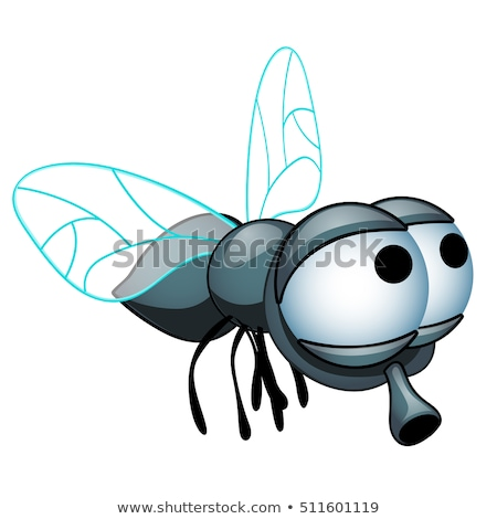 Funny fly with big eyes isolated on white background. Vector cartoon close-up illustration. Stock photo © Lady-Luck