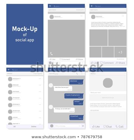 Stok fotoğraf: Social Network Profiles Set Vector Illustration