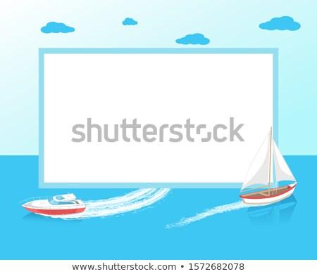 Morza podróży plakat ramki nowoczesne jacht Zdjęcia stock © robuart