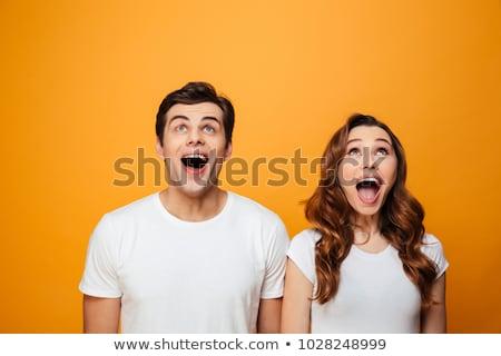 Сток-фото: удивленный · молодые · Cute · любящий · пару · позируют