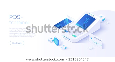 Flat isometric vector landing page template of contactless payment. Stock photo © TarikVision