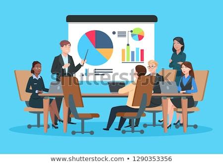 Reunión de negocios seminario trabajadores vector hombres sesión Foto stock © robuart