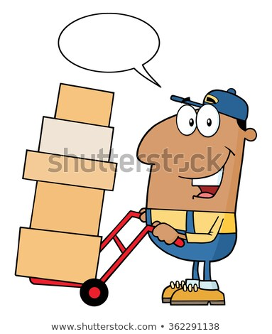 African American Delivery Man Cartoon Character Using A Dolly To Move Boxes With Speech Bubble Stock photo © hittoon