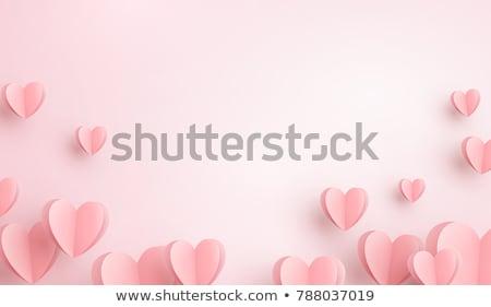 Foto d'archivio: San · valentino · rosa · a · forma · di · cuore · amore · carta · felice