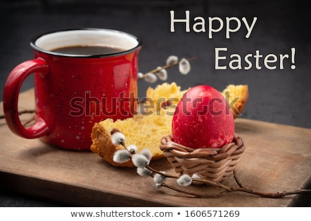 Happy Easter greeting card with homemade buns Stock photo © artsvitlyna
