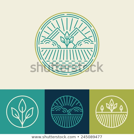 Foto d'archivio: Logo Or Icon Of Landscape With Agricultural Field And Mountain