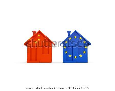 два домах флагами Китай Евросоюз изолированный Сток-фото © MikhailMishchenko