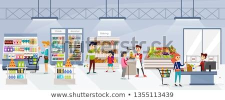 Supermarkt store bakkerij afdeling vrouw vector Stockfoto © robuart
