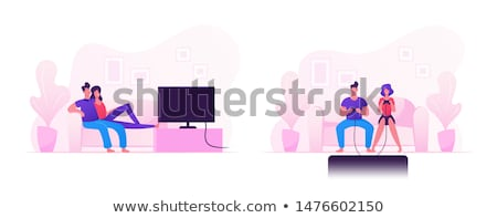 Cartoon man spending free time at home Stock photo © jossdiim