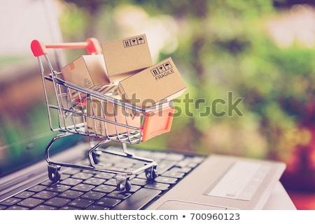 Shopping Cart Discount Shipping Cartons Stock photo © limbi007