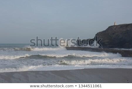Plaj dalgalar cornwall su bulutlar yaz Stok fotoğraf © latent