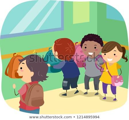 Dzieci worek rogu klasie ilustracja torby Zdjęcia stock © lenm