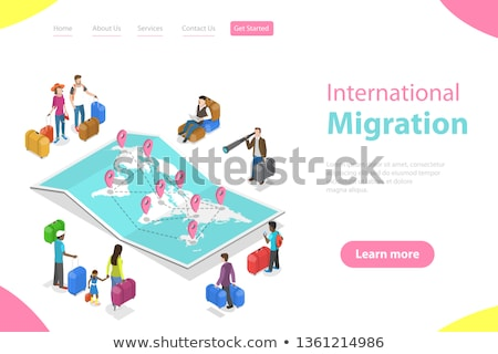 Isometric flat vector landing page template of international migration. Stock photo © TarikVision