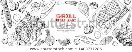 BBQ Barbecue Meat Vegetables Vector Illustration Stock photo © robuart