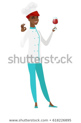 chef cartoon character holding a glass with wine stock photo © hittoon