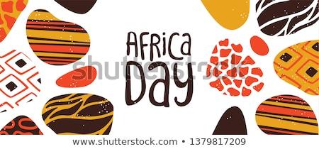 Szczęśliwy Afryki dzień karty plemiennych Afryki Zdjęcia stock © cienpies