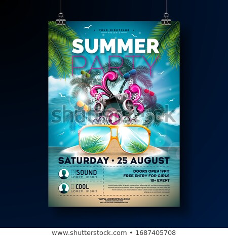 Summer Beach Party Flyer Design With Flower Beach Ball And Sun Glasses Vector Summer Nature Floral Stok fotoğraf © articular