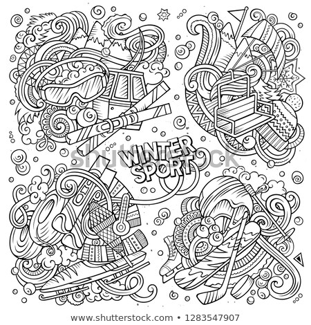 Sketchy vector hand drawn doodles cartoon set of Winter sport combinations Stock photo © balabolka