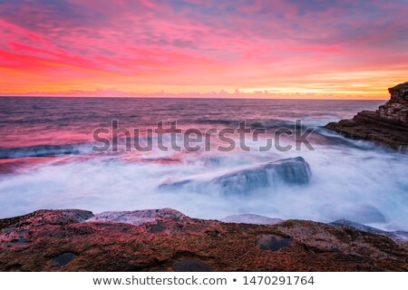 Blazing red sunrise over the Sydney east coast Stock photo © lovleah