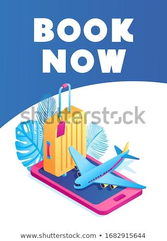 jegyek · repülőgép · okostelefon · utazás · repülőgép · internet - stock fotó © tele52
