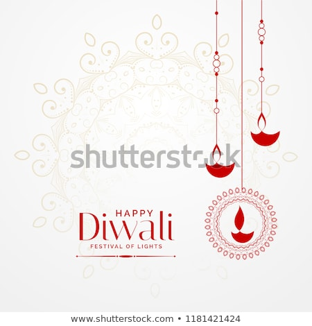 happy diwali wishes greeting card design with hanging diya Stock photo © SArts