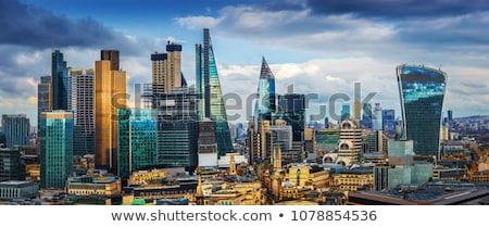 Londres canary wharf pôr do sol edifício crepúsculo escritório Foto stock © vichie81