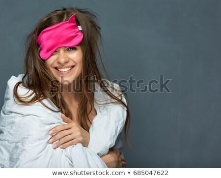 Portrait of smiling beautiful woman with white blanket, wake up  Stock photo © dashapetrenko