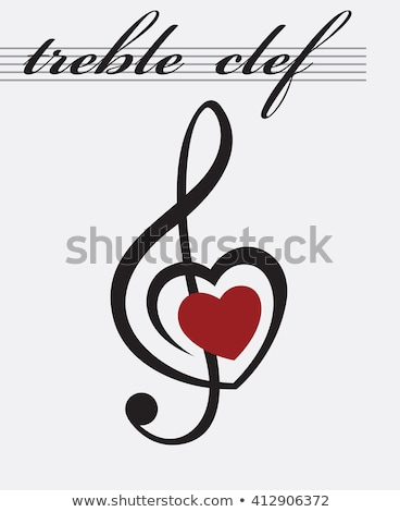 Сток-фото: Treble Clef And Heart Song Element Vector Icon