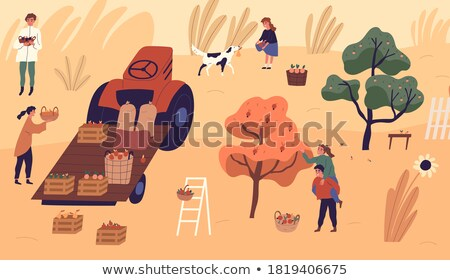 apple tree woman picking fruits kid playing vector stock photo © robuart