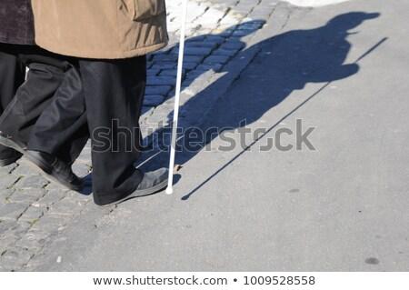 ブラインド · 人 · 徒歩 · 通り · 白 · スティック - ストックフォト © andreypopov