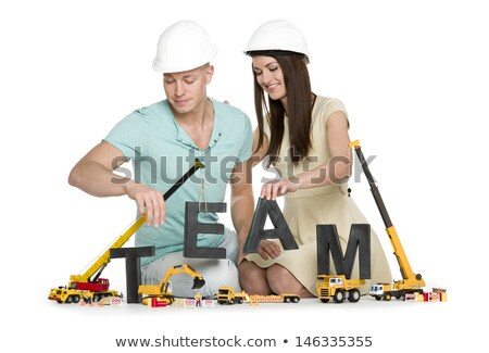 Squadra gioioso uomo donna costruzione team building Foto d'archivio © lichtmeister
