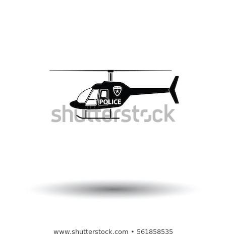 Police helicopter icon isolated on white background, air transport, aviation, vector illustration. Stock photo © MarySan