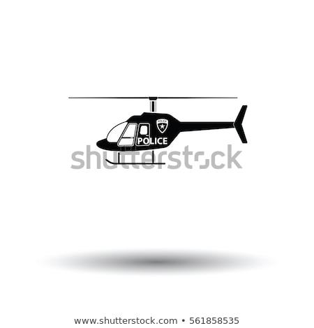 Polícia helicóptero ícone isolado branco ar Foto stock © MarySan