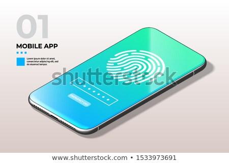Fingerprint Scanner On Phone Screen Biometric Identification And Approval Concept Foto stock © Tashatuvango
