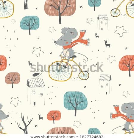 Bonitinho criança ratos projeto sem costura vetor Foto stock © yopixart