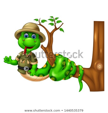 Funny Green Snake Cartoon Vector Illustration for your design Stock photo © jawa123
