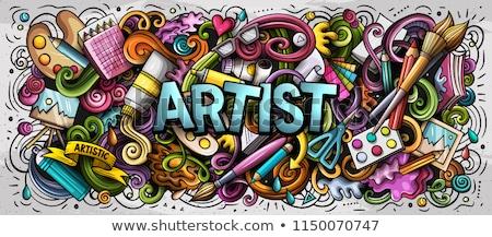 Rajz aranyos firkák művész szó vicces Stock fotó © balabolka