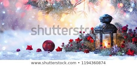 Christmas lantaarn sneeuw achtergrond Rood koud Stockfoto © lovleah