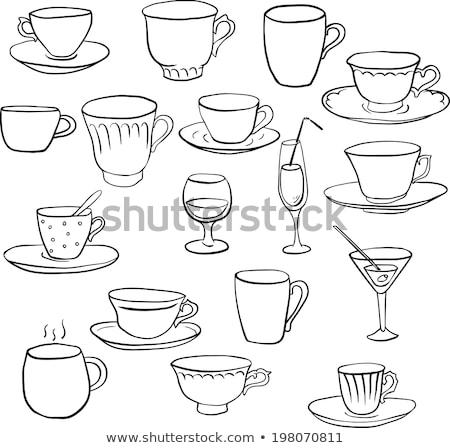 Ceaşcă de cafea farfurioara lingură monocrom vector energie Imagine de stoc © pikepicture