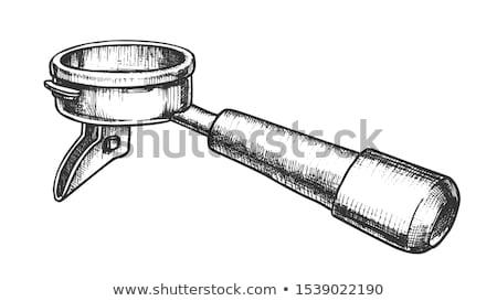 café · isolado · branco · madeira · metal - foto stock © pikepicture